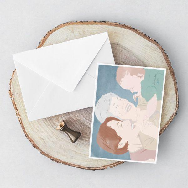 Cartolina illustrata con busta