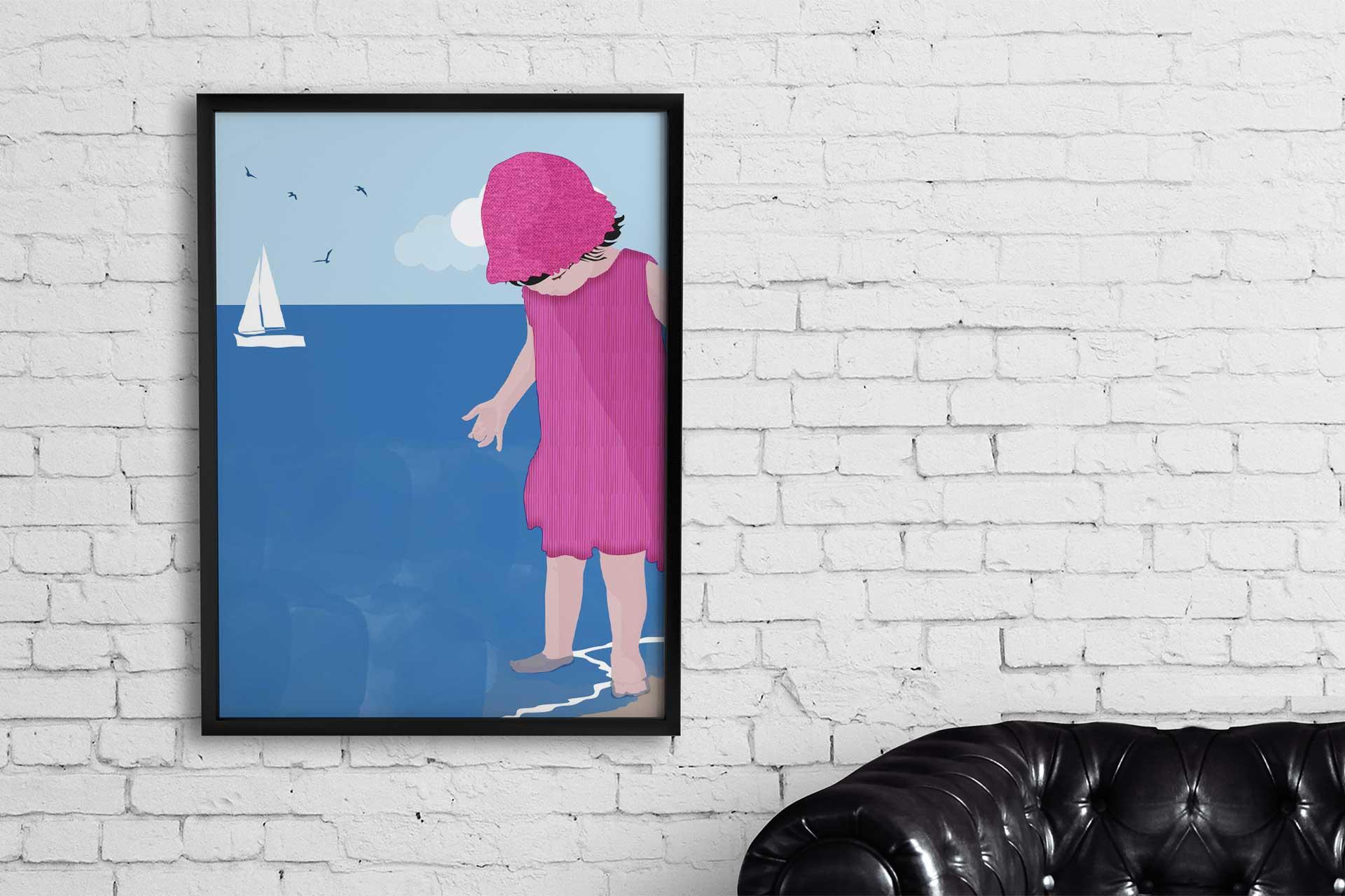 Quadro con Bimba al mare © Roberta Coralluzzo alkestudio.it