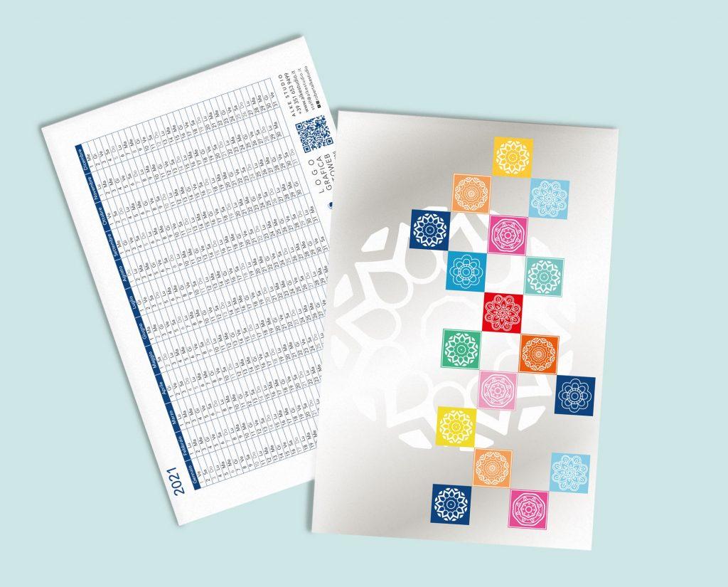 La cartoline/segnalibro con calendario 2021 © Roberta Coralluzzo alkestudio.it