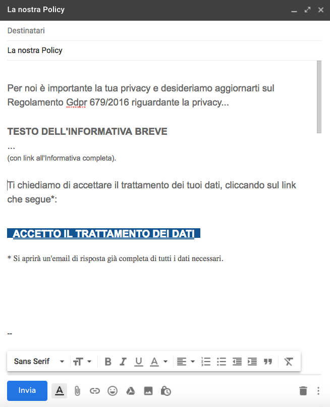 Risposta all'email