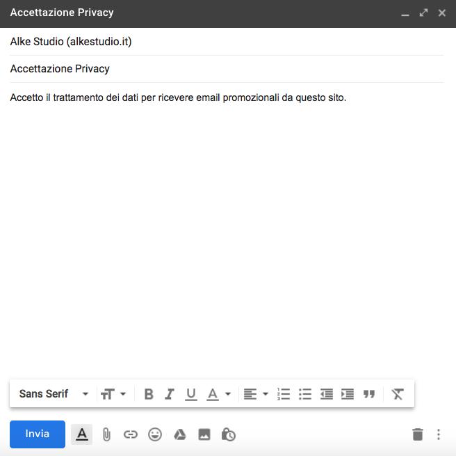 Impostazioni dell'email