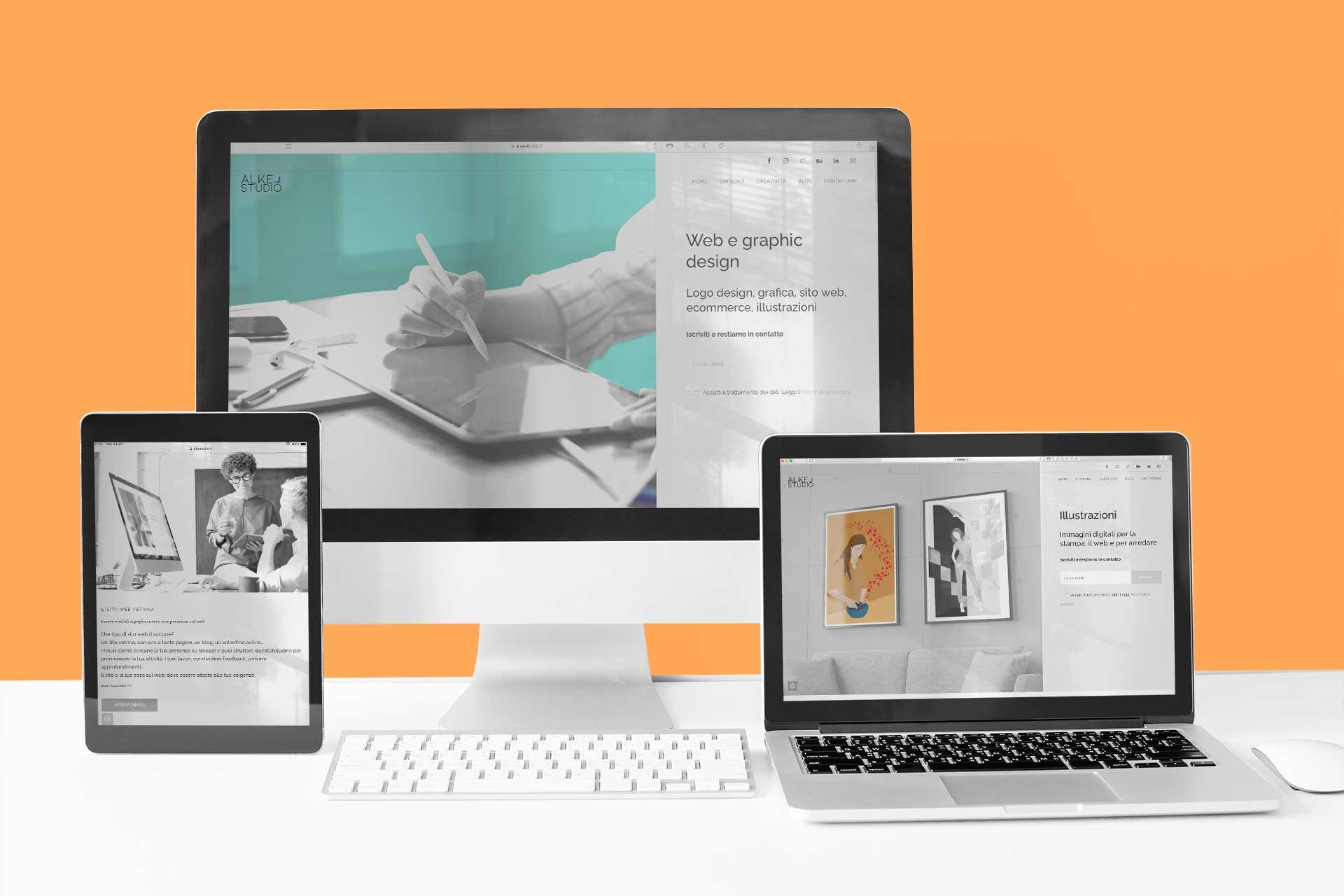 Header sezione web design del sito alkestudio.it