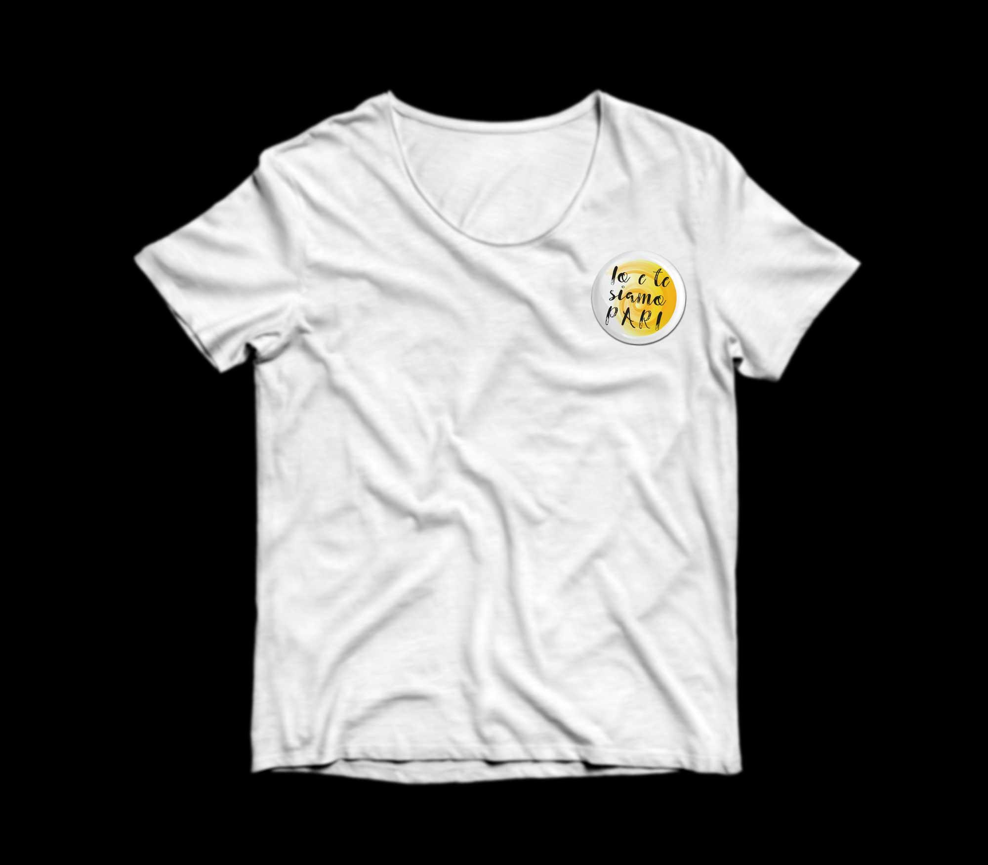 """Stampa su t-shirt bianca per """"Io e te siamo pari"""""""